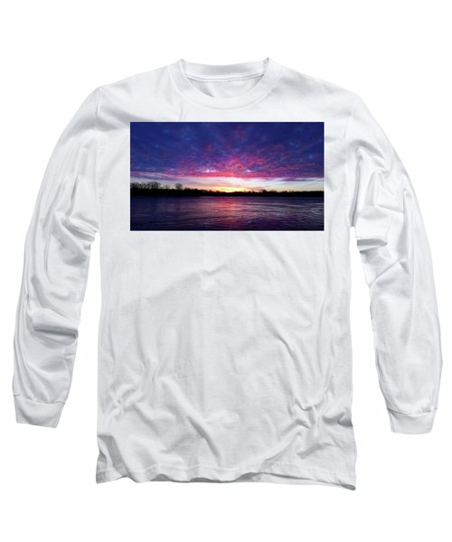 Winter Sunrise On The Wisconsin River Long Sleeve T-Shirt by Brook Burling