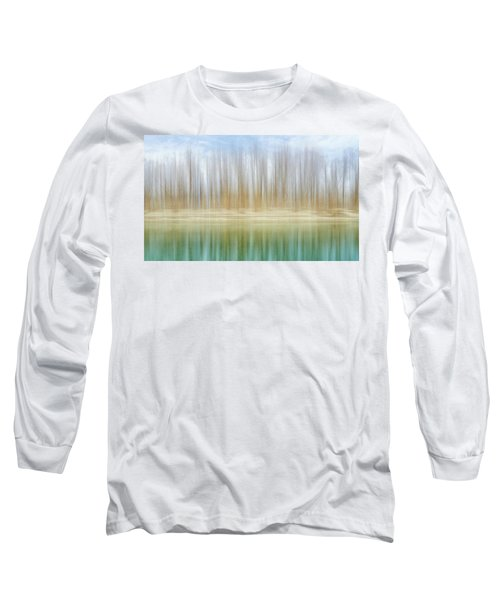Winter Trees On A River Bank Reflecting Into Water Long Sleeve T-Shirt