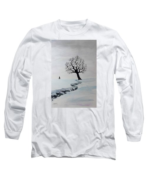 Long Sleeve T-Shirt featuring the painting Winter Trek by Jack G Brauer