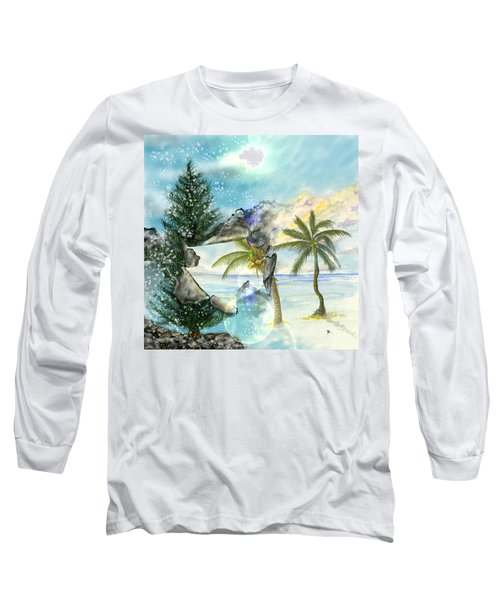 Long Sleeve T-Shirt featuring the digital art Winter Vacation by Darren Cannell