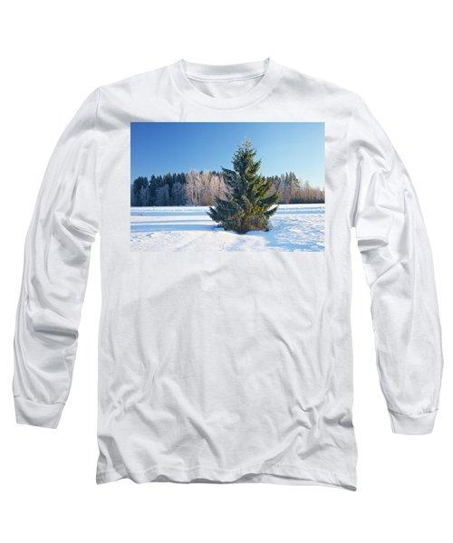Wintry Fir Tree Long Sleeve T-Shirt by Teemu Tretjakov