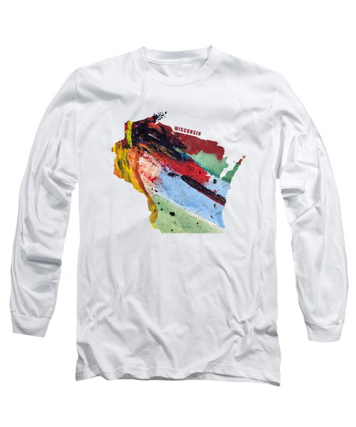 Wisconsin Map Art - Painted Map Of Wisconsin Long Sleeve T-Shirt