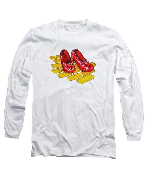 Wizard Of Oz Ruby Slippers Long Sleeve T-Shirt by Irina Sztukowski