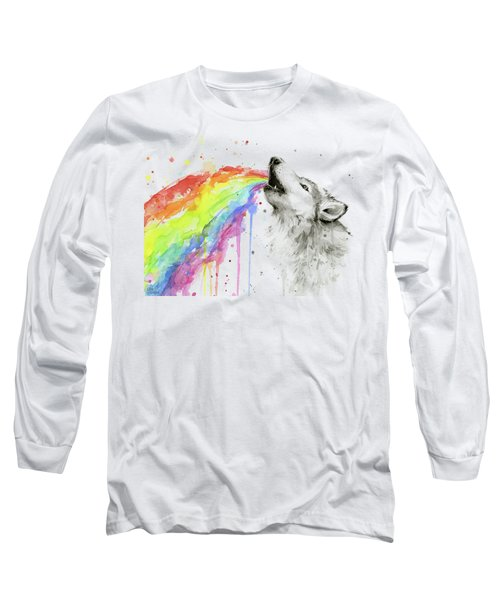 Wolf And Rainbow  Long Sleeve T-Shirt