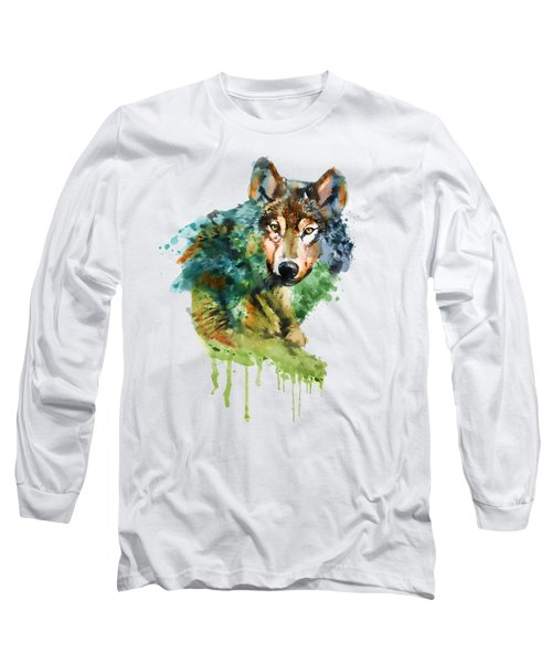 Wolf Face Watercolor Long Sleeve T-Shirt by Marian Voicu