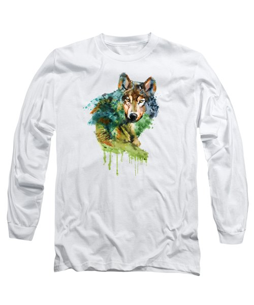 Wolf Face Watercolor Long Sleeve T-Shirt