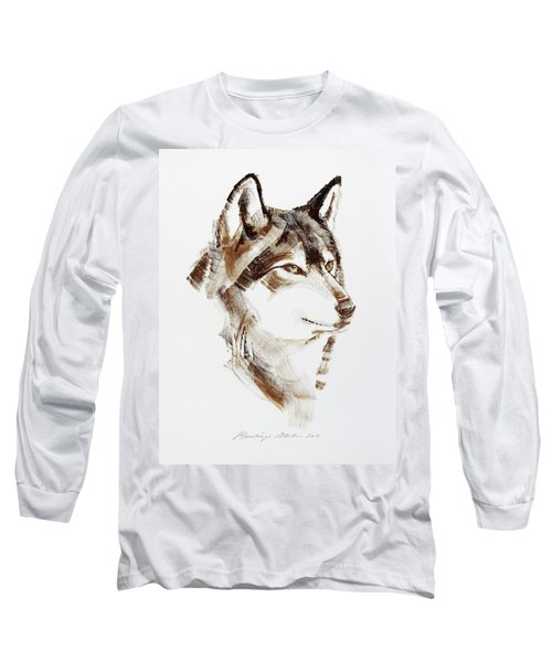 Wolf Head Brush Drawing Long Sleeve T-Shirt