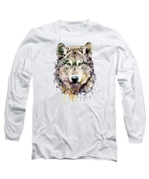 Wolf Head Long Sleeve T-Shirt by Marian Voicu