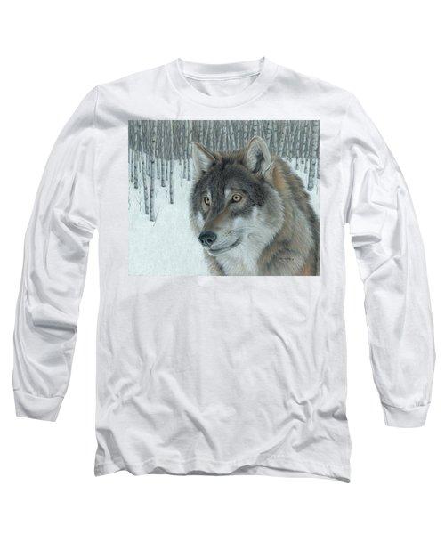 Wolf In Aspens Long Sleeve T-Shirt