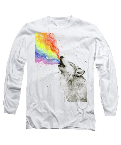 Wolf Rainbow Watercolor Long Sleeve T-Shirt