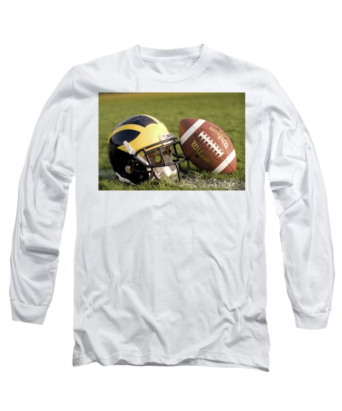 Wolverine Helmet With Football On The Field Long Sleeve T-Shirt
