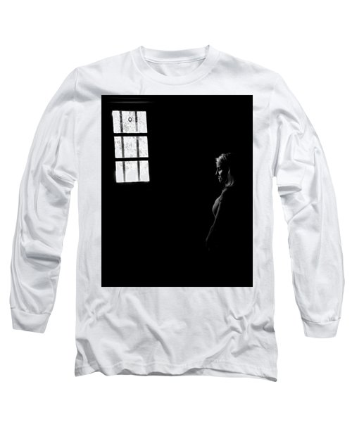 Woman In The Dark Room Long Sleeve T-Shirt by Ralph Vazquez