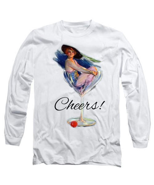 Woman In Wine Glass Long Sleeve T-Shirt