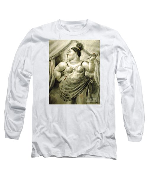 woman performer Botero Long Sleeve T-Shirt by Ted Pollard