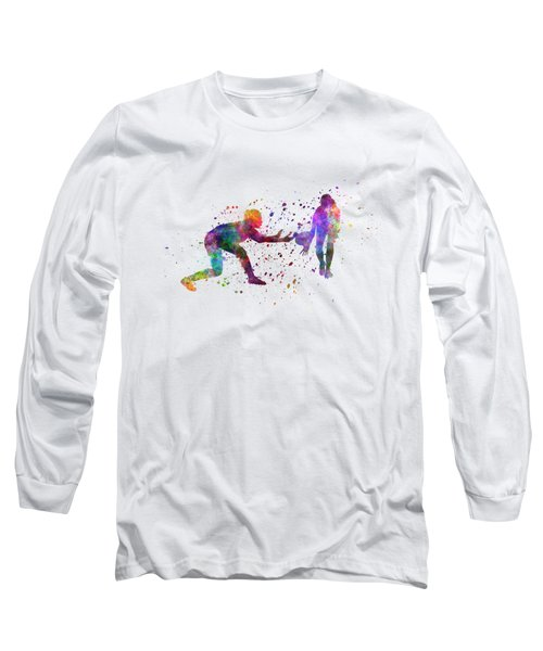 Woman Rugby 01 In Watercolor Long Sleeve T-Shirt