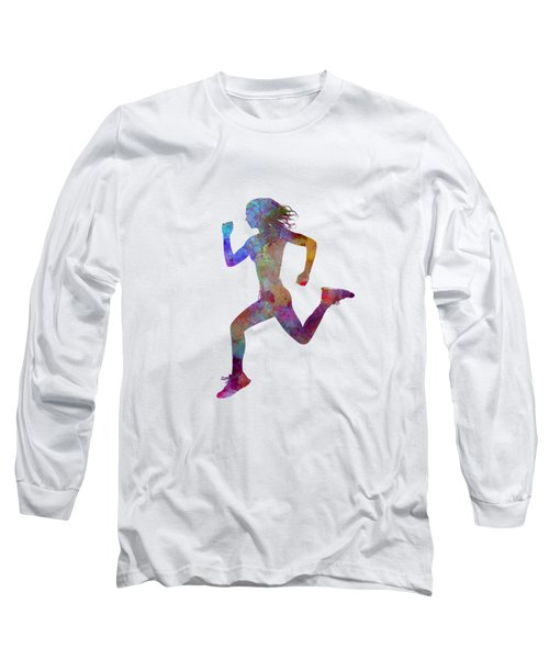 Woman Runner Running Jogger Jogging Silhouette 01 Long Sleeve T-Shirt by Pablo Romero