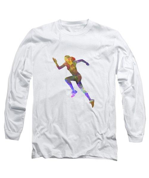 Woman Runner Running Jogger Jogging Silhouette 03 Long Sleeve T-Shirt