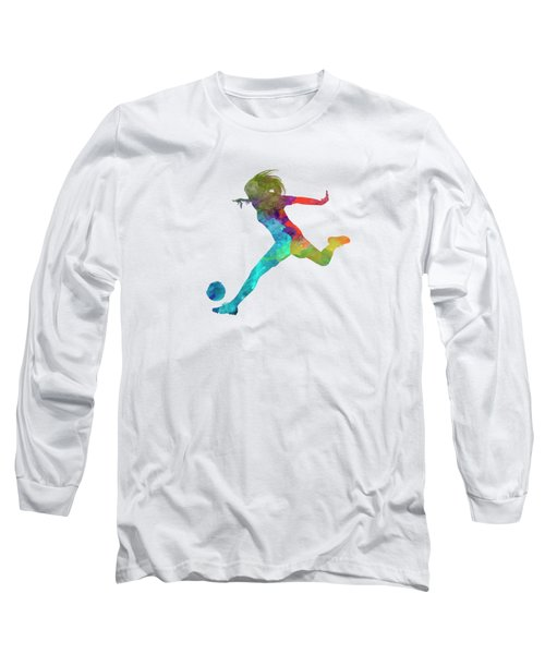 Woman Soccer Player 01 In Watercolor Long Sleeve T-Shirt by Pablo Romero