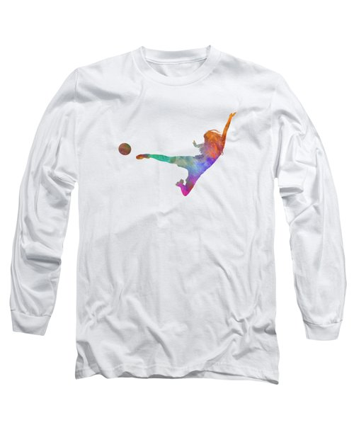 Woman Soccer Player 02 In Watercolor Long Sleeve T-Shirt by Pablo Romero