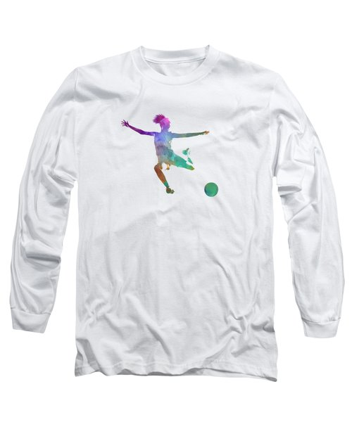 Woman Soccer Player 03 In Watercolor Long Sleeve T-Shirt by Pablo Romero