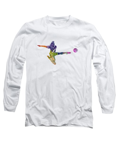 Woman Soccer Player 04 In Watercolor Long Sleeve T-Shirt by Pablo Romero