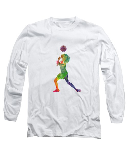 Woman Soccer Player 06 In Watercolor Long Sleeve T-Shirt