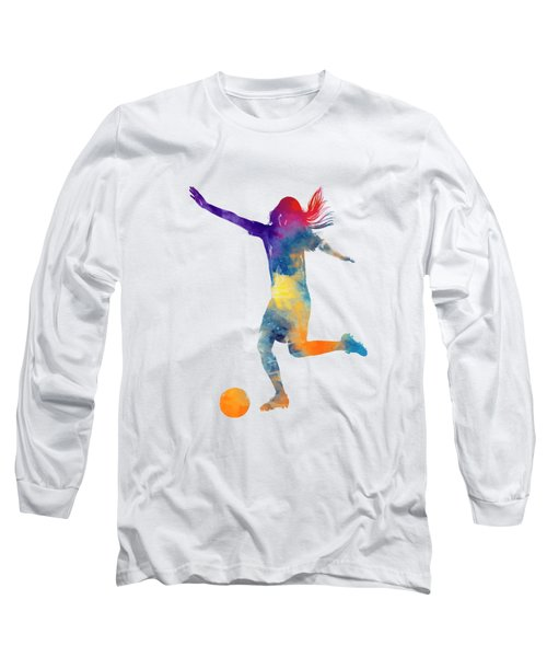Woman Soccer Player 07 In Watercolor Long Sleeve T-Shirt