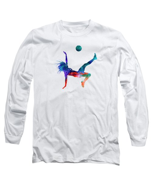 Woman Soccer Player 08 In Watercolor Long Sleeve T-Shirt by Pablo Romero
