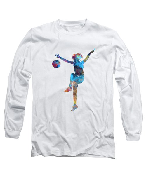 Woman Soccer Player 12 In Watercolor Long Sleeve T-Shirt