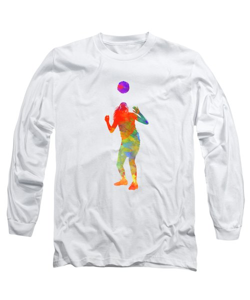 Woman Soccer Player 13 In Watercolor Long Sleeve T-Shirt