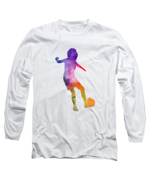 Woman Soccer Player 15 In Watercolor Long Sleeve T-Shirt