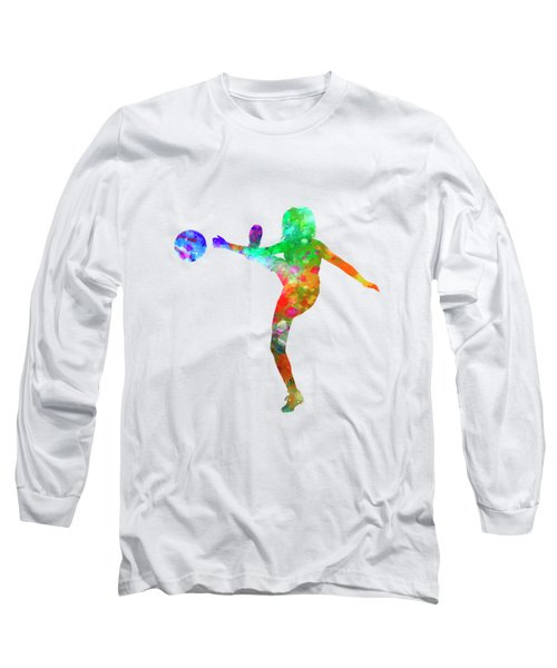 Woman Soccer Player 17 In Watercolor Long Sleeve T-Shirt by Pablo Romero
