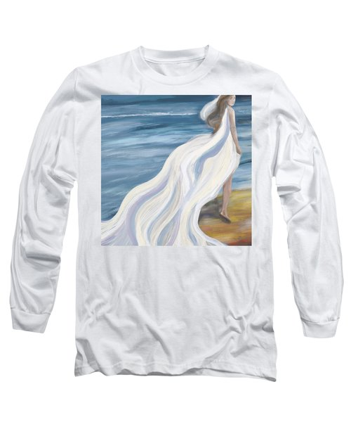 Woman Strolling On The Beach Long Sleeve T-Shirt