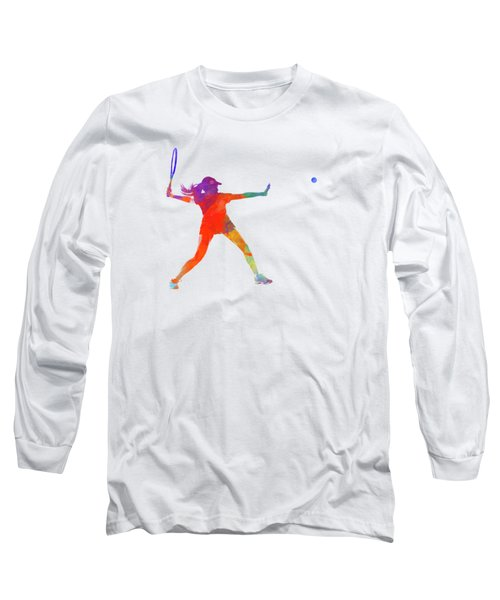 Woman Tennis Player 01 In Watercolor Long Sleeve T-Shirt by Pablo Romero