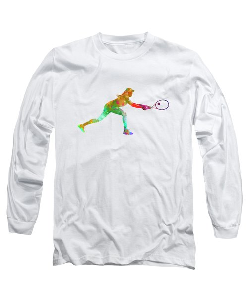 Woman Tennis Player Sadness 02 In Watercolor Long Sleeve T-Shirt