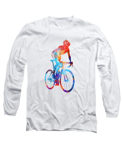Woman Triathlon Cycling 06 Long Sleeve T-Shirt by Pablo Romero