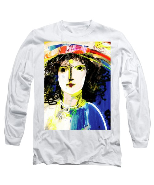 Woman With Party Hat Long Sleeve T-Shirt by Amara Dacer