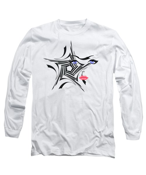 Woman With Star Design Long Sleeve T-Shirt by Christine Perry