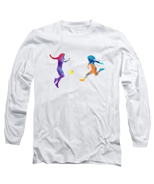 Women Soccer Players 01 In Watercolor Long Sleeve T-Shirt by Pablo Romero