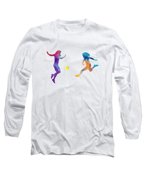 Women Soccer Players 01 In Watercolor Long Sleeve T-Shirt