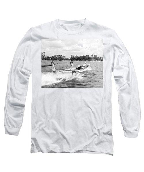 Women Water Skiers Waving Long Sleeve T-Shirt