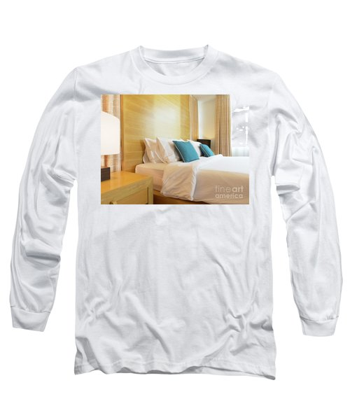 Long Sleeve T-Shirt featuring the photograph Wood Bed by Atiketta Sangasaeng