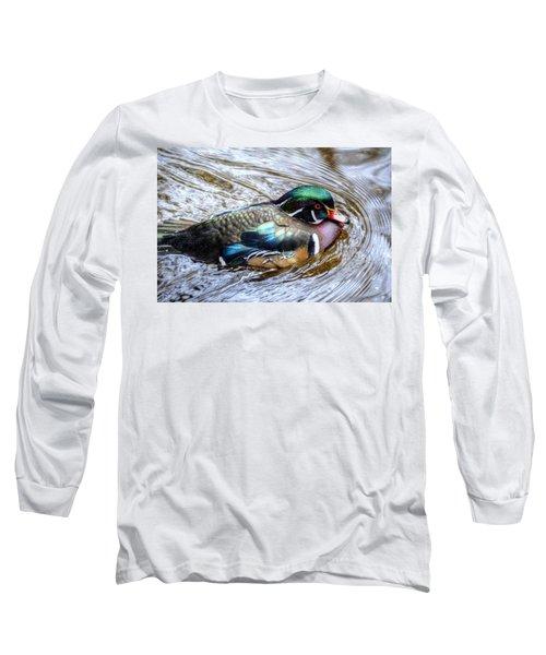 Woodduck Portrait Long Sleeve T-Shirt by Ronda Ryan