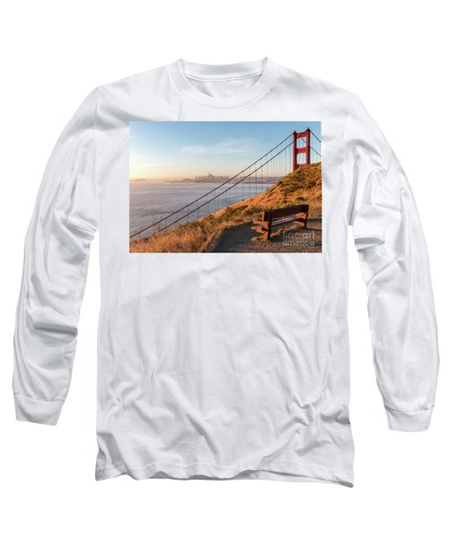 Wooden Bench Overlooking Downtown San Francisco With The Golden  Long Sleeve T-Shirt
