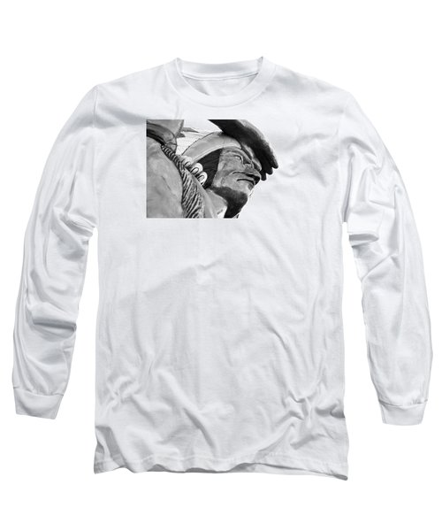 Wooden Indian Long Sleeve T-Shirt by Bob Pardue