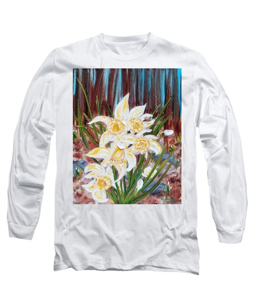 Long Sleeve T-Shirt featuring the painting Woodland Daffodils by Judith Rhue