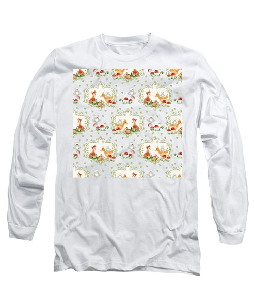 Woodland Fairy Tale -  Warm Grey Sweet Animals Fox Deer Rabbit Owl - Half Drop Repeat Long Sleeve T-Shirt