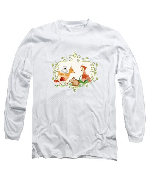 Woodland Fairytale - Grey Animals Deer Owl Fox Bunny N Mushrooms Long Sleeve T-Shirt