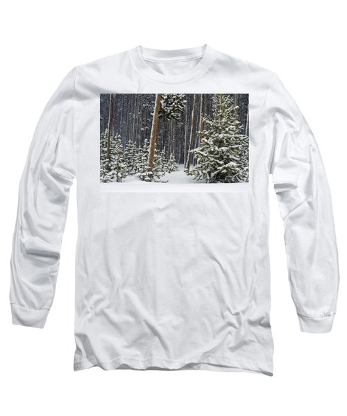 Woodland Snowstorm In Yellowstone Long Sleeve T-Shirt
