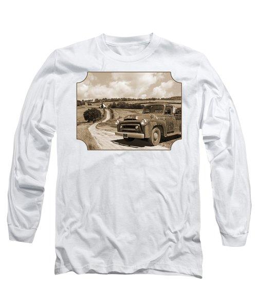 Down On The Fram - International Harvester In Sepia Long Sleeve T-Shirt